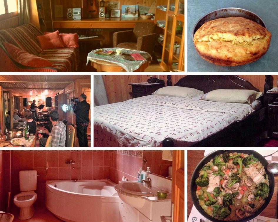 een collage van verschillende foto's van accommodatie in de villa crhalj in bijelo polje montenegro